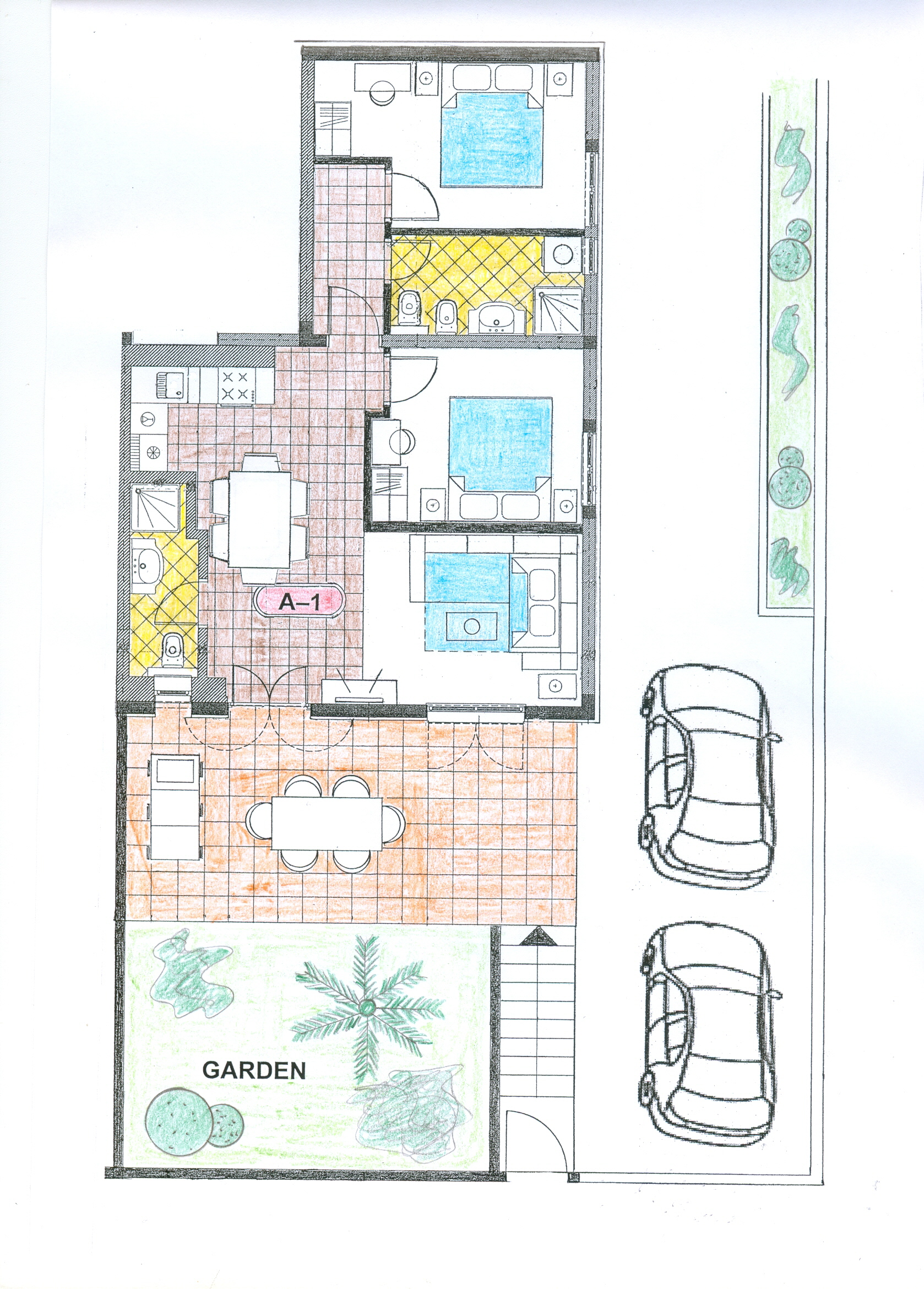 Ap.1 Bungalo-plan-Apartments Trogir